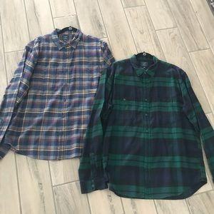 2  J. Crew Flannel Men's Shirts Size XL